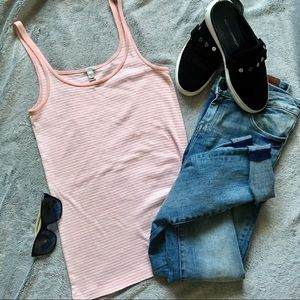 J. Crew Perfect Fit Striped Baby Pink Tank-top